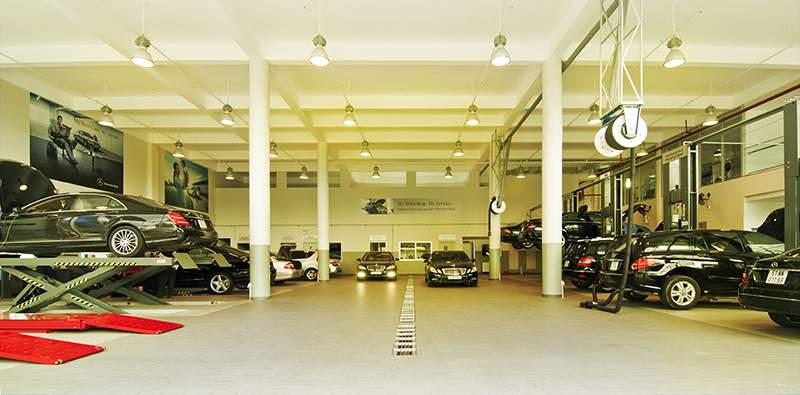 khu bảo trì xe của Showroom mercedes Phú Mỹ Hưng