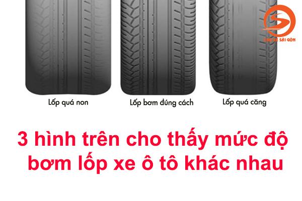 Bơm lốp xe ô tô không nên quá non hay quá căng
